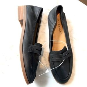 NEW Leather Lucky Brand Loafer Flats sz 7 Black